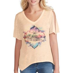 Jessica Simpson Womens Tropical Sunset Split Sleeve Top