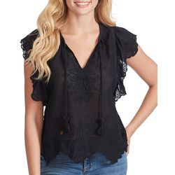 Jessica Simpson Womens Solid Eyelet Flutter Sleeve Top