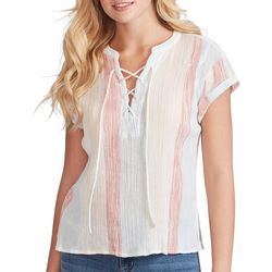Jessica Simpson Womens Striped Lace-Up Cap Sleeve Top
