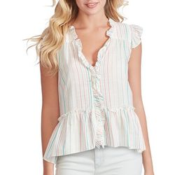Jessica Simpson Womens Striped Ruffled Peplum Top