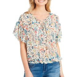 Jessica Simpson Womens Sheer Floral Lace-Up Top