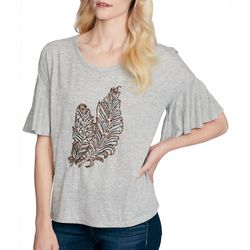 Jessica Simpson Womens Jerilynn Beaded Feather Top