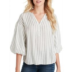 Jessica Simpson Womens Sena Striped Bubble Sleeve Top