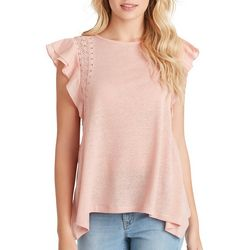 Jessica Simpson Womens Solid Flutter Sleeve Lace Detail Top