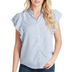 Jessica Simpson Womens Gingham Ruffled Button Down Top