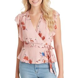Jessica Simpson Womens Floral Print Faux-Wrap Ruffle Top