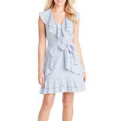Jessica Simpson Womens Gingham Ruffle Tie Waist Dress