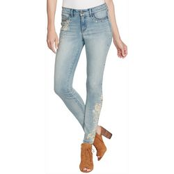 Jessica Simpson Womens Embellished Floral Skinny Jeans