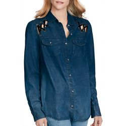 Jessica Simpson Womens Chambray Crisscross Top