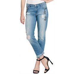 Jessica Simpson Womens Mika Embellished Distressed Jeans