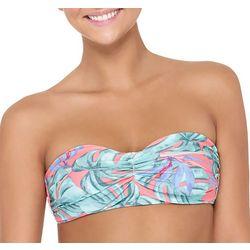 Hot Water Juniors Tropical Print Shirred Bandeau Swim Top