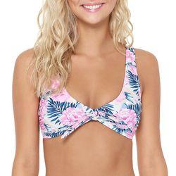 Hot Water Juniors Dune Flowers Tie Front Bikini Top