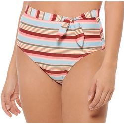Hot Water Juniors Love Stripe High Waisted Swim Bottoms