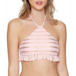 Malibu Dream Girls Juniors Metallic Stripe Ruffle Swim Top