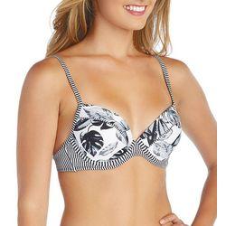 Island Soul Juniors Palm Leaf & Stripe Push Up Bikini Top