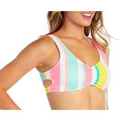 Island Soul Juniors Stripe Crisscross Back Bralette Swim Top