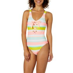 Island Soul Juniors Lace Up Stripe One Piece Swimsuit