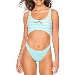 Salt Life Juniors Retro Stripe Cutout One Piece Swimsuit