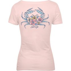 Salt Life Juniors Tropical Crab V-Neck T-Shirt