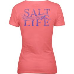 Salt Life Juniors Sketched Wave V-Neck T-Shirt
