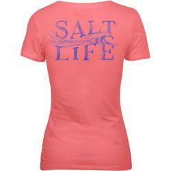 Salt Life Juniors Sketched Wave V-Neck T-Shirt