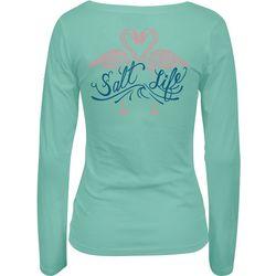 Salt Life Juniors Flamingo Love Scoop Neck Long Sleeve Top