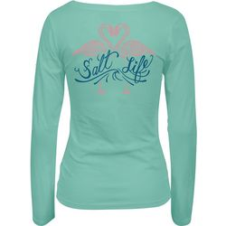 Salt Life Juniors Flamingo Love Scoop Neck Long Sleeve Top