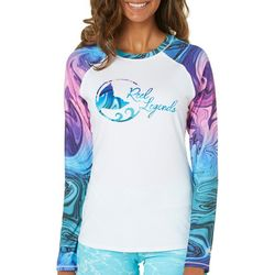 Reel Legends Juniors Swirl Logo Long Sleeve Swim Shirt