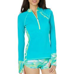 Reel Legends Juniors Colorblock Scuba Print Rashguard Top
