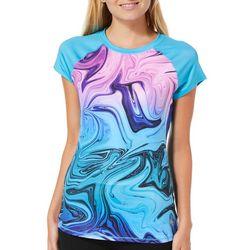 Reel Legends Juniors Keep It Cool Swirled Short Sleeve Top