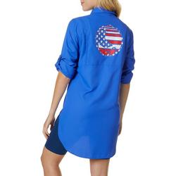 Juniors Gulfshore Solid Americana Logo Top
