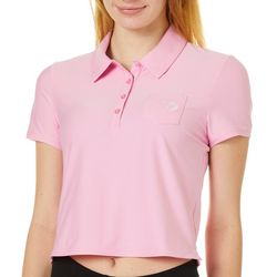 Juniors Solid Cropped Chest Pocket Polo