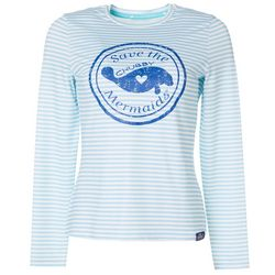 Chubby Mermaids Juniors Striped Logo Long Sleeve Top