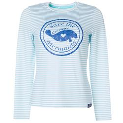 Juniors Striped Logo Long Sleeve Top