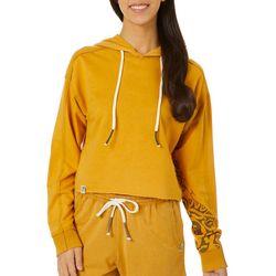 Juniors Solid Cropped Long Sleeve Hoodie