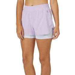 Juniors Camo Mesh Print Stowaway Shorts