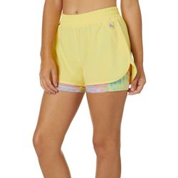 Juniors Tropical Palm Leaf Stowaway Shorts