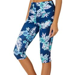Reel Legends Juniors Keep It Cool Hibiscus Crop Leggings