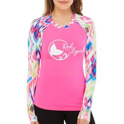Reel Legends Juniors Keep It Cool Ikat Print Logo Top