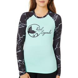 Reel Legends Juniors Keep It Cool Marble Print Logo Top