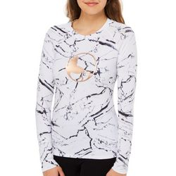 Reel Legends Juniors Keep It Cool Foil Logo Marble Print Top