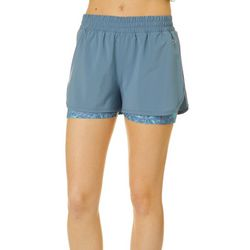 Juniors Tropical Floral Stowaway Shorts