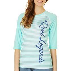Reel Legends Juniors Keep It Cool Striped Half Sleeve Top