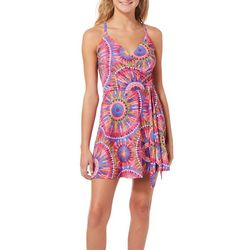 Reel Legends Juniors Keep It Cool Sunuburst Faux-Wrap Dress