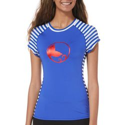 Reel Legends Juniors Keep It Cool Striped Logo Swim Top