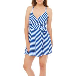 Reel Legends Juniors Keep It Cool Striped Faux-Wrap Dress