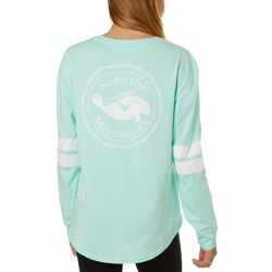 Juniors Solid Screen Print Long Sleeve Top