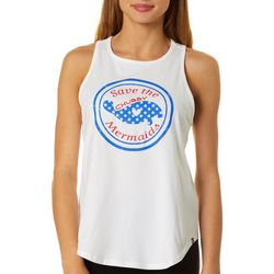 Chubby Mermaids Juniors Americana Logo Tank Top