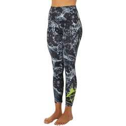 Juniors Splash Waves Print Cropped Leggings