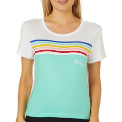 Reel Legends Juniors Cropped Colorblock Striped T-Shirt